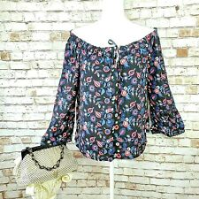 NWT BB Dakota Size Small Lasson Off Shoulder Bell Sleeve Top Blouse Black Floral