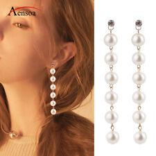 Trendy Women Pearl Rhinestone Long String Dangle Statement Earrings Jewelry Gift