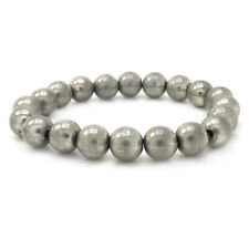 14K White Gold Over Round Shap Bead Stretch Bracelet