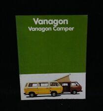 Original Volkswagen Bus Vanagon Brochure