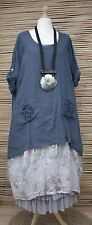 """LAGENLOOK LINEN OVERSIZED 2 FLOWERS POCKETS TUNIC/TOP**NAVY BLUE**BUST UP TO 58"""""""