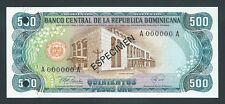 F.C. REPUBLICA DOMINICANA , ESPECIMEN , 500 PESOS ORO 1978 , S/C (UNC) , P.123s1