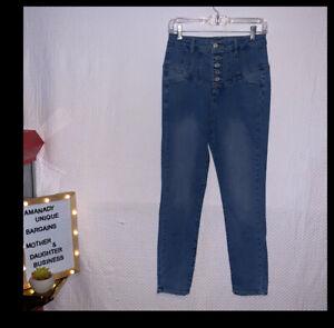 Fashion Nova Open Eyes Skinny Jeans Women's Size 5 High Rise Buttons Denim