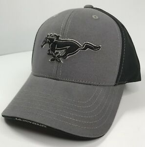 Ford Mustang Hat / Cap - Black & Gray W/ Black Pony Grille Emblem / Logo