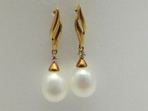 "VINTAGE 10K YELLOW GOLD DANGLE PEARL EARRINGS DIAMOND ACCENT 1"" LONG"