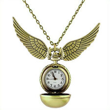 Gold Pendant Necklace Steampunk Quidditch Wings Harry Potter Snitch Pocket Watch