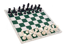 "Analysis Chess Set - 12"" Green Vinyl Chess Board – 32 Black & Natural Pieces"