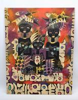 Vintage Malerei auf Stoff von Gianto 80er Jahre
