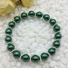 NEW Wholesale Fashion Jewelry 8mm Hole Green water Pearl Beads Stretch Bracelet