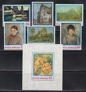 Romania 1974 MNH Mi 3175-3180+Block 110 Sc 2468-2474 Impressionistic paintings**