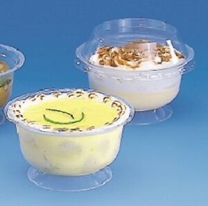 Plastic Clear Disposable Dessert / Breakfast Pots Cup With Clear Domed Lids