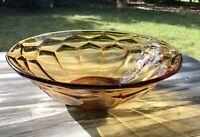 Antik Art Déco Pressglas Schale Bernstein gelb Amber Glas Obstschale Schön!