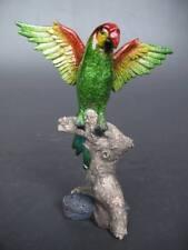 Papagei Vogel Figur Skulptur Polystein farbig grün Vintage Weihnachts Geschenk