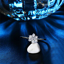 Round Silver Plated Snowflake Crystal Zircon Jewelry Rhinestone Rings Size 8