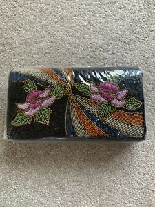 Vintage 1980s Black Beaded Clutch Bag - Disco BNIP
