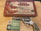 * 1950s MATTEL SHOOTIN' SHELL FANNER CAP PISTOL W/ THE BOX + GREENIE STIK M CAPS