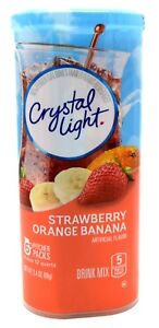 12 12-Quart Canisters Crystal Light Strawberry Orange Banana Drink Mix
