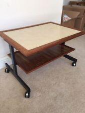 Vintage 1960's Teak & Metal TEA TROLLEY Side Table Hostess Table Castors