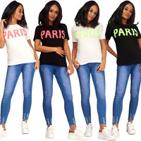 New Women Ladies Paris Slogan Print Round Neck Short Sleeve Tee Top T-Shirt UK