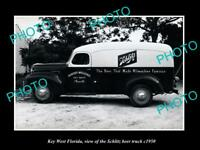 OLD POSTCARD SIZE PHOTO KEY WEST FLORIDA THE SCHLITZ BEER DELIVERY TRUCK c1950