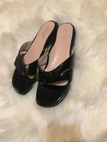Taryn Rose Black Patent Leather Sandals Size 11 M Low Wedge