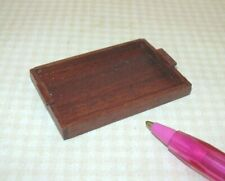 Miniature Rustic Rectangular Wooden Tray w/Raised Edge: DOLLHOUSE: 1:12 Scale