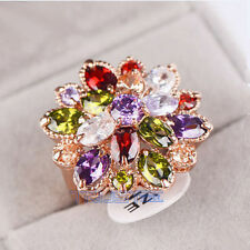 Women's Ring Crystal Rose Gold Plated AAA Cubic Zircon gem Wedding ring gift 7
