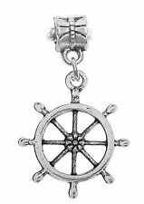 Ship Captain's Wheel Nautical Boat Beach Dangle Charm for European Bead Bracelet