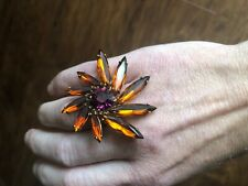 Louis Vuitton Orange/Red Purple Party Ring, Approximate Size 7.5