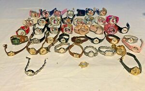 43X DISNEY MICKEY MOUSE MINNIE MOUSE  METAL LEATHER QUARTZ WATCHES AS-IS