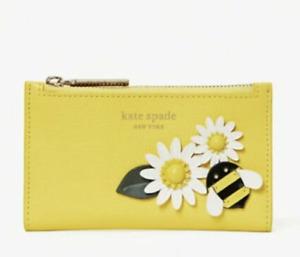 Kate Spade Buzz Crossgrain Leather Appliqué Small Slim Bifold Wallet Yellow NWT