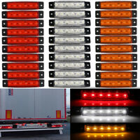 30Pcs 6 LED 12V Truck Trailer Side Marker Indicator Light Lamp Bar Truck Trailer