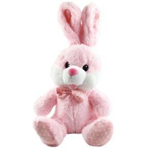 "Easter Bunny Dan Dee Large Rabbit Plush Stuffed Pink White 22"" Polka Dot Bowtie"