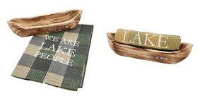 Mud Pie E1 Retreat 2x11'' Wood Canoe Dish & 25x16'' Towel - Choose Design
