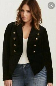 Torrid Blazer Sz 1 Black Velvet Military Jacket Gold Buttons Cropped NWOT FLAW