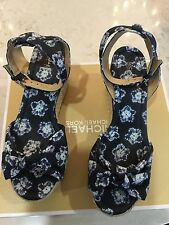 Michael Kors Maxwell Espadrilles Wedge Printed Canvas Navy Sandal Shoes 9.5