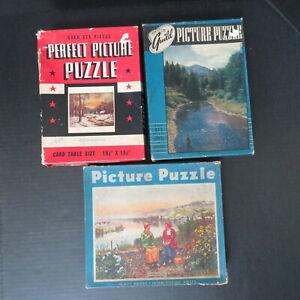 LOT OF 3 VINTAGE GUILD, FAIRCHILD, PERFECT PICTURE PUZZLES