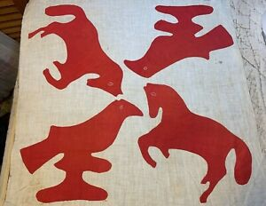 Vintage Cotton Fabric Late 1800s Turkey Red Applique Horses Birds Quilt Block