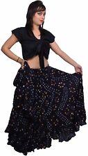Color Negro Falda Lunares Danza del Vientre Tribal-indiantrend