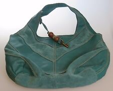 FOSSIL Teal Suede Leather PATCHWORK Large Shoulder Bag Shopper Tote Purse