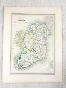 1846 Antique Map of Ireland Munster Ulster Connaught Hand Coloured Engraving