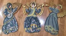 VTG HAND CRAFTED PAINTED WOOD VICTORIAN ANGELS W MUSICAL INSTRUMENTS WALL ART