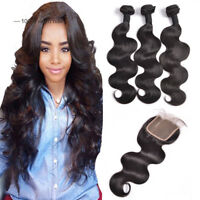 Brazilian Virgin Hair 3 Bundles with 4*4 Lace Closure Human Hair Weft Body Wave