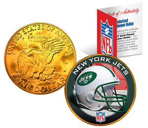 NEW YORK JETS NFL 24K Gold Plated IKE Dollar U.S. Coin * OFFICIALLY LICENSED *