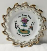 """God Bless this Lousy Apartment vintage decorative wall plate gold trim 5.25"""" HTF"""
