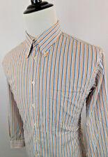 PAUL FREDRICK Men's Button Down Striped Dress Shirt sz Large Blue White Orange