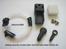 Sliding security screen door closer pulley kit for vertical water filled closer