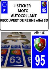 1 sticker plaque immatriculation MOTO TUNING 3D RESINE  BLASON PORTUGAL DEPA 95