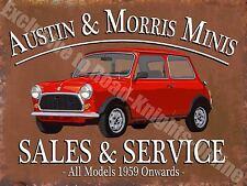 Vintage Garage, Austin Morris Mini Sales & Service Car, 25 Medium Metal/Tin Sign