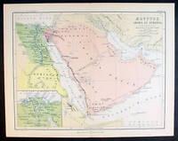 1870 Johnston Antique Map Egypt Saudi Arabia & Ethiopia